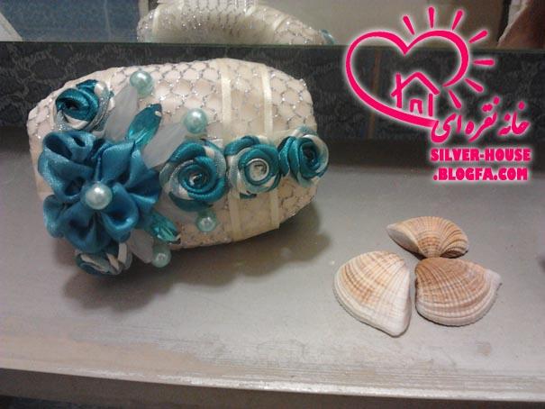 تزیین صابون و دکوپاژ عکس عروس و داماد روی صابون