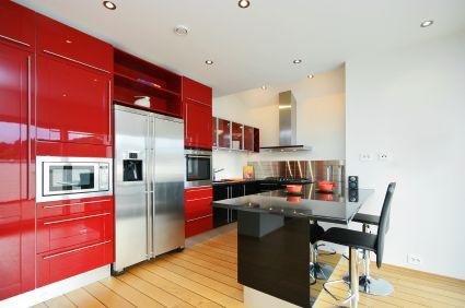 انواع کابینتهای ترکیب بندی با رنگ قرمز